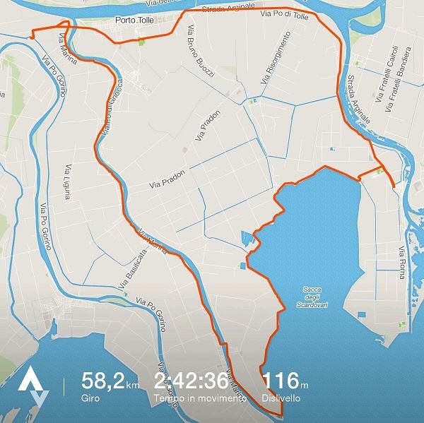 percorso in bici sul Delta del Po