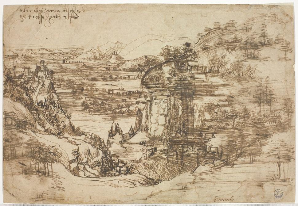 Leonardo Da Vinci - Disegno paesaggio